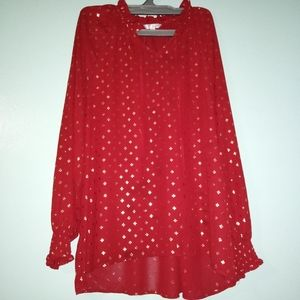 Time and True Red with Gold Print Blouse L